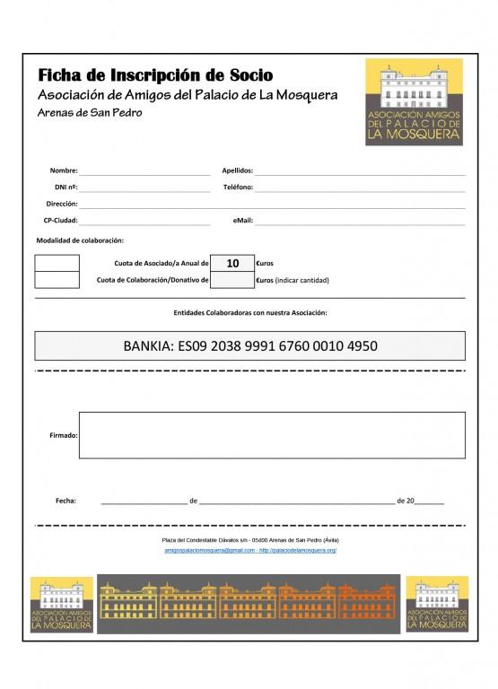 Ficha Inscripción Asociación de Amigos del Palacio de La Mosquera - Arenas de San Pedro